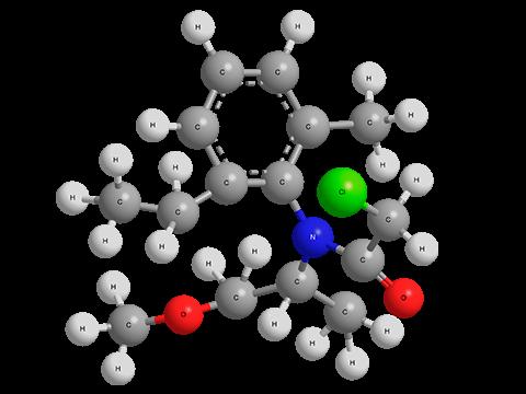 С-Метолахлор - R-изомер трехмерная модель молекулы