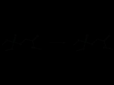 Диметоат - Изомеризация диметоата: Получающийся тиоловый эфир фосфорной кислоты более токсичен, чем диметоат (по Шрадеру, 1965).