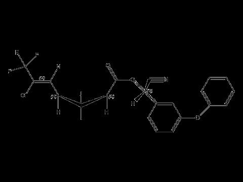 Лямбда-цигалотрин - (S)-α-циано-З-феноксибензиловый эфир (Z)-(1R)- цис-3-(2-хлор-3,3,3-трифторпропенил)-2,2-диметилциклопропанкарбоновой кислоты, структурная формула