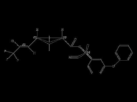 Лямбда-цигалотрин - (R)-α-циано-3-феноксибензиловый эфир (Z)-(1S)-цис-3-(2-хлор-3,3,3-трифторпропенил)-2,2-диметилциклопропанкарбоновой кислоты, структурная формула