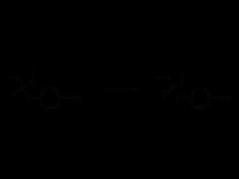 Паратион-метил - Изомеризация паратион-метила до О,S-диметил-О-(n-нитрофенил)тиофосфата: Реакция проходит при повышенных температурах