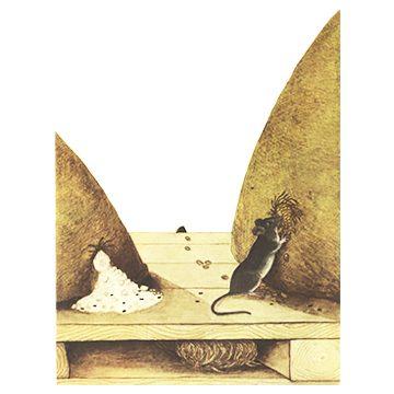 Мышь домовая - Повреждения и гнездо. Использовано изображение: